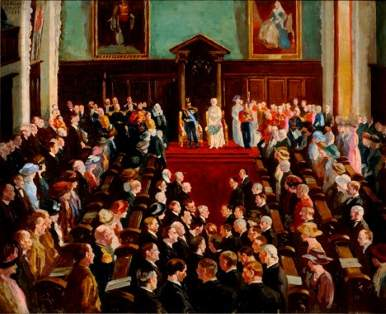 State opening of the Northern Ireland Parliament in 1921 - By William Conor. The painting was unveiled in 1922.